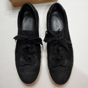 VINCE black suede Slater low top lace up sneakers